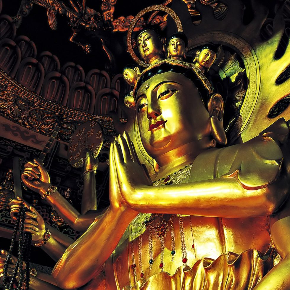 Gold Peaceful Statue Religious Buddha Hands Pray Homage Incense HDR Wallpaper